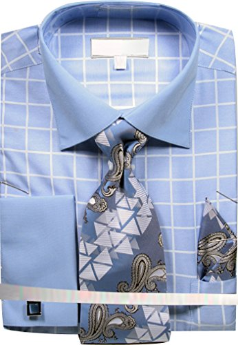 Sunrise Outlet Men's Grid Checkered Pattern Dress Shirt French Cuffs Tie Hanky Cufflinks - Blue 19.5 36-37