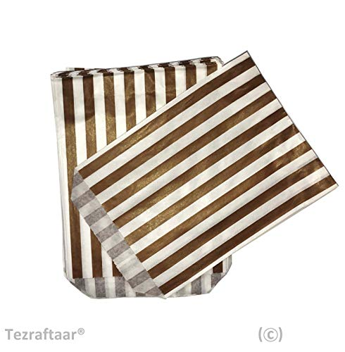 Tezraftaar® 1000 5″x7″ Candy Stripe Paper Bags Sweet Favour Buffet Gift Shop Wedding Party Sweets Cake (Choose Colour) (Gold and White)