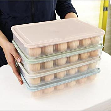 Huevera de plástico para cocina, 24 rejillas, bandeja para huevos y frigoríficos con tapa