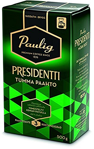 Paulig Presidentti (President) - Dark Roast - Fine Grind - Premium Filter Blend Ground Coffee - Bag 500g (Finland) (12 Bags (Save 50%)) by Paulig Coffee