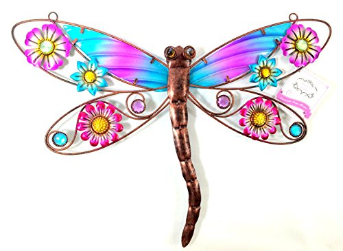 Bejeweled-Display-Colorful-Dragonfly-W-Glass-Wall-Art-Plaque-Home-Decor