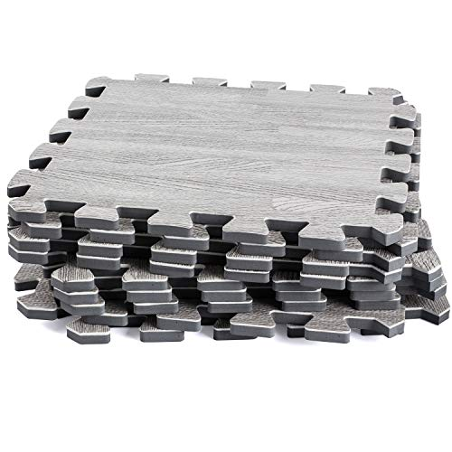 Dooboe Interlocking Foam Mats – Interlocking Floor Tiles – Gray Printed Wood Grain – Ideal for Home, Office, Playroom, Basement, Trade Show ()