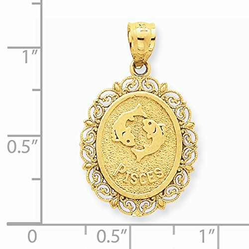 Or 14 ct solide satin Poli Pisces Zodiaque Pendentif Ovale - Mesures 28,1 x 17.2 mm