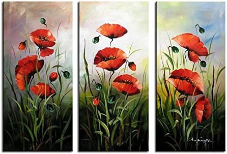 Noah Art-Modern Flower Art, Red Poppies Spring Flowers Picture 100 Hand Painted Flower Oil Paintings on Canvas Wall Art, 3 Piece Framed Floral Paintings for Bedroom Wall Decor, 12x30inch x 3
