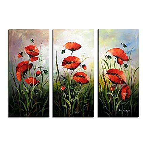 Picture poppies flowers amazon noah art modern flower art red poppies spring flowers picture 100 hand painted flower oil paintings on canvas wall art 3 piece framed floral paintings mightylinksfo Image collections