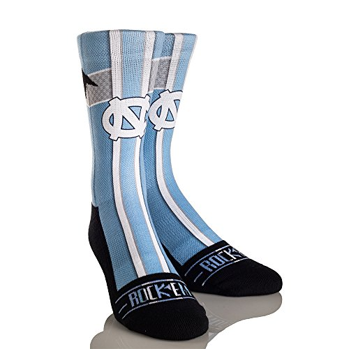 NCAA North Carolina Tar Heels Jersey Series University Custom Athletic Crew Socks, Large/X-Large, Carolina Blue
