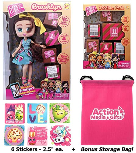 - Boxy Girls Gift Bundle - (1) Brooklyn BoxyGirls Doll with 12 Surprises + (1) Fashion Pack with 20 Surprises + (6) Shopkins Stickers with Compatible Toy Storage Bag!