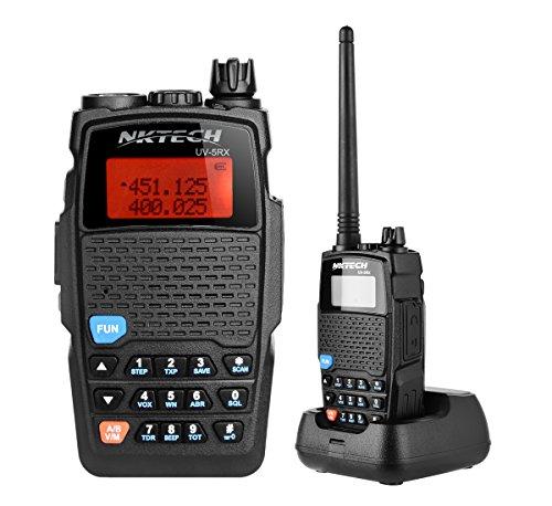 (NKTECH UV-5RX VHF UHF Dual Band 136-174/400-480MHz PTT 5W FM Two Way Radio Ham Transceiver Walkie Talkie with 3200mAh 7.4V Li-ion Batteries Accessories Warranty Original)