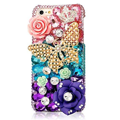 EVTECH(TM) Coque 3D Bling Strass Case Transparent Back Cover Cristal Etui Housse Hard Coque Iphone 5 5S At & T Verizon T-Mobile & Sprint