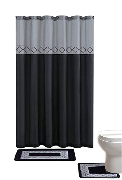 Gray Black Contemporary Bath Shower Curtain 15 Pcs Modern Bathroom Rug Mat Contour Hook Set