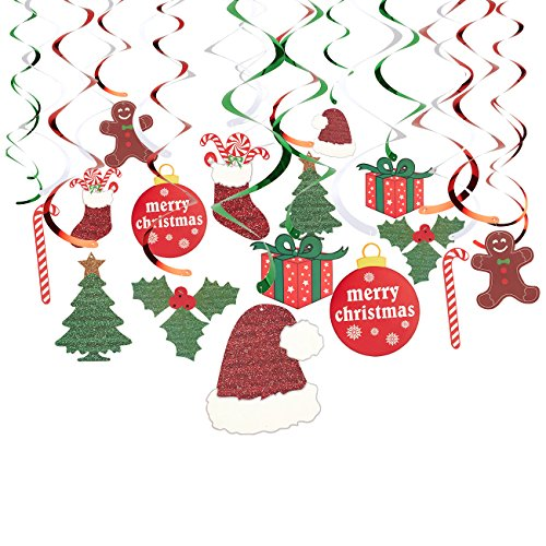 Juvale 30-Pack of Hanging Christmas Decorations - Festive Xmas Swirl Decorations, Winter Wonderland Party Decor, Assorted Designs and -