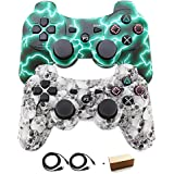 Kolopc 2 Packs Wireless Bluetooth Controllers For PS3 Double Shock - Bundled with USB charge cord (White Skull and Green Lightning)