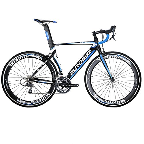 Eurobike EURXC7000 Road Bike 54CM Light Aluminum Frame 16 Speed 700C Road Bicycle Blue