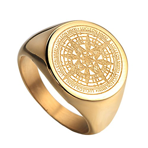 Oakky Men's Stainless Steel Stars Vintage Round Compass Signet Ring Gold Size 10