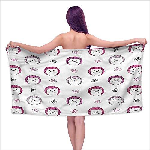 Aurauiora Popular Bath Towels Hedgehog,Colorful Spiky Animal,W10 xL39 for Men red
