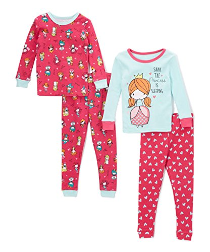 Princess Candlestick - Candlesticks Girls' Baby Girls 4-Piece Snug Fit Pajama Set, Princess, Baby Girls