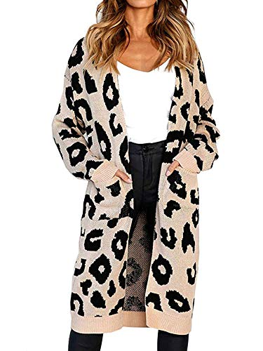 Print Vest Silk (Long Sweaters for Women Cardigans with Pocket (S, Khaki))
