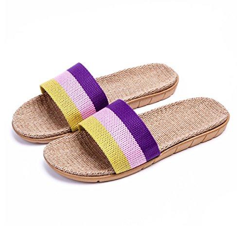 Bestfur Mujeres Cosy Breathable Linen Zapatillas De Salón Moradas