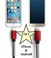 SG Enterprises - 2 in 1 Lightning and Mini/Micro USB cable for iPhone and Android 3ft/1m