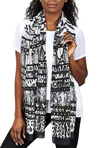 (Roberto Cavalli Women's Leopard Skin Patterned Silk Scarf Black Charcoal)