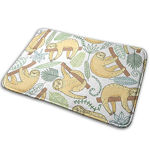 Stazary Animal Decor Cartoon Sloth On The Tree Soft Non Slip Absorbent Bath Rugs,Memory Foam Bath Mats Entrance Mat Floor Mat by Stazary