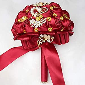 WIFELAI-A Dark Red Wedding Flowers Bridal Bouquets Rhinestone Brooch Flowers Crystal Bride Holding Bouquet White Ivory Satin Roses with Diamond Pearl Ribbon (Dia:8.26inchH:10inch Dark Red W227Q-10) 3