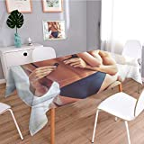 Stylish Little Tablecloth,Cropped Image of Beautiful Passionate Couple Having Sex on Bed Man is unfastening Bra,Easy Care Table Cover Wipe Clean Skidproof Stain Resistant