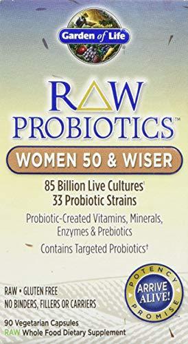 Garden of Life - RAW Probiotics Women 50 & Wiser - Acidophilus Live Cultures - Probiotic-Created Vitamins, Minerals, Enzymes and Prebiotics - Gluten Free - 90 Vegetarian Capsules
