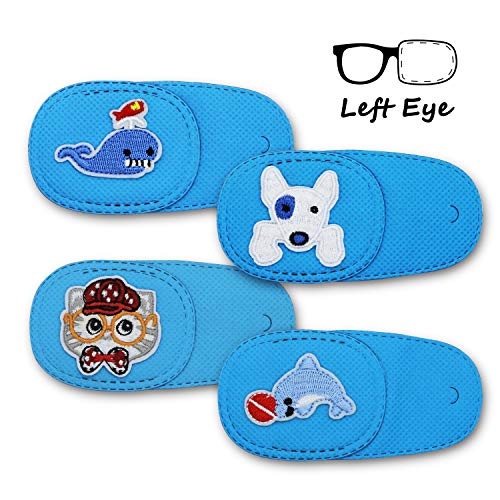 Astropic 4Pcs Eye Patches for Kids Girls Boys Eye Patch for Glasses Medical Patches for Adults Children with Lazy Eye Amblyopia Strabismus and After Eye Surgery (Left Eye, Blue) from Astropic