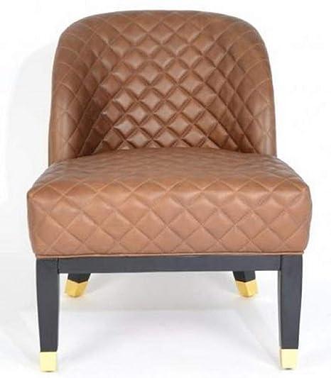 Casa-Padrino sillón de Cuero marrón/Negro/Oro 62 x 73 x H ...