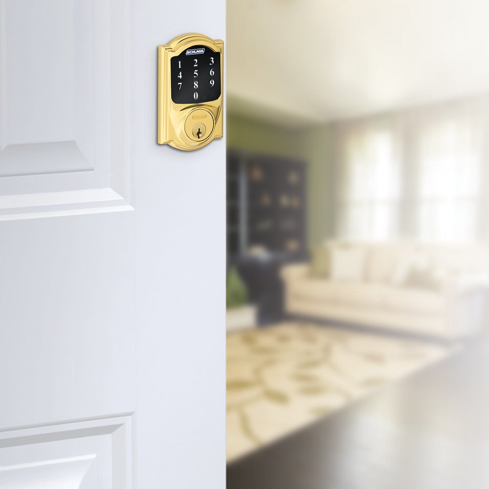 New Model Bright Brass Schlage Connect Camelot Touchscreen Deadbolt with Z-wave Technology and Extra Key BE468-2K