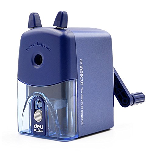 Manual Pencil Sharpeners, VOOPII 2 in 1 Hand Crank Pencil Sharpener Heavy Duty for School Classroom, Office, Home(Blue) by VOOPII