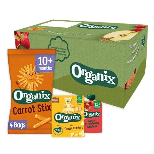 Organix Biologische Peuter Snack Box (10+/12+mnd) – 17 st. – Verantwoorde tussendoortjes, snacks en knijpfruit– Geen…