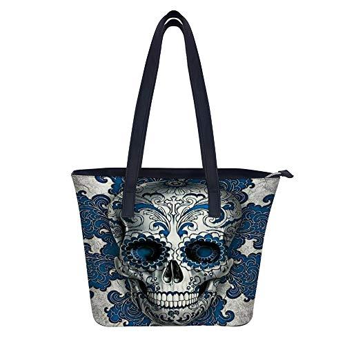 SARA NELL Women's Leather Tote Shoulder Bags Handbags Sugar Skull Cross Head Floral Blue Hair For Work Travel Business Beach Shopping School