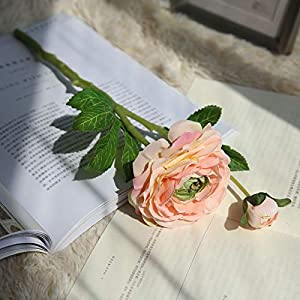 Artificial Tea Rose Bouquet Silk Flowers with Bud Simulated Camellia for Party Wedding Office Home Decor 105
