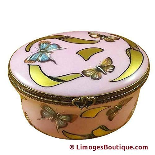 - STUDIO COLLECTION - OVAL PINK/BLUE BUTTERFLY - YOUNG GIRL PORTRAIT - LIMOGES BOX AUTHENTIC PORCELAIN FIGURINE FROM FRANCE