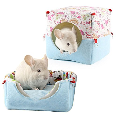 Guinea Pig Hanging Bed Rabbit Hamster Suaqre House Warm Bed Cute Small Animal Pet Winter Warm Chinchilla House Cage with Replaceable Bed for Healthy Sleep by ZoeZ(Blue)