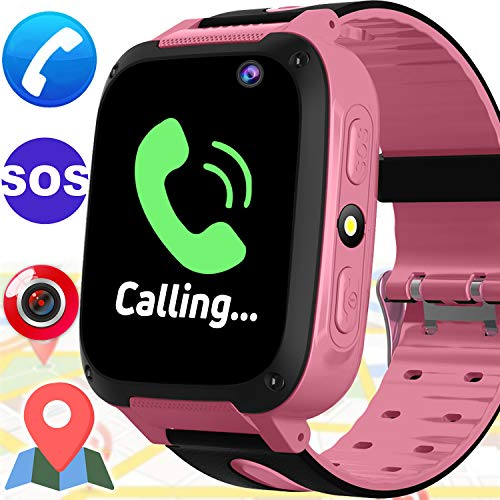 Kids Smart Phone Watch - Kids Smartwatch with GPS Locator Tracker for Boy Girl with Mobile Phone SOS Anti-lost Camera Game Outdoor Children Digital Wrist Watch Bracelet for School Summer Holiday, Pink by Woqoo