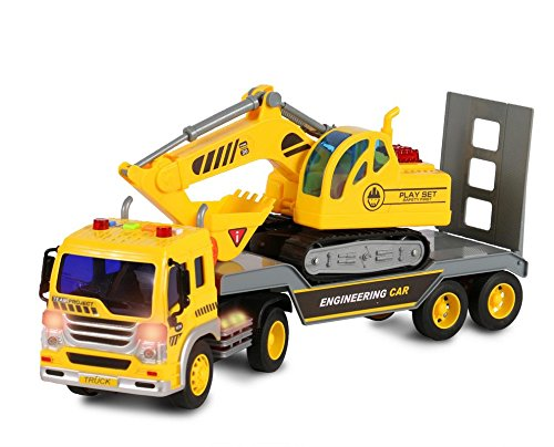 owered Flatbed Truck with Excavator Tractor - Push and Go Construction Toy for Boys and Girls with Lights and Sounds - Realistic 1:16 Scale Design - by (Toy Construction Truck)