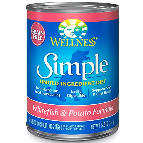Wellness Simple Natural Grain Free Wet Canned Limited Ingredient Dog Food, Whitefish & Potato, 12.5-Ounce Can (Pack Of 12)