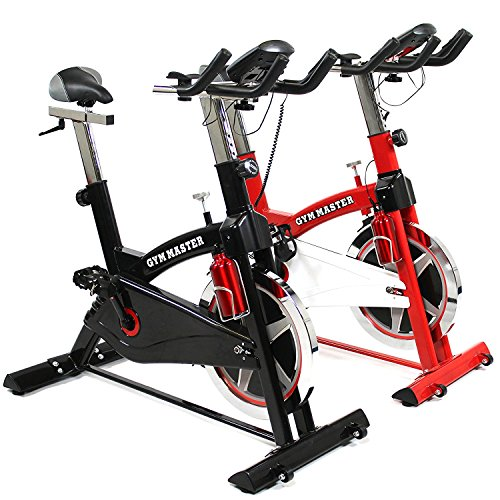 GYM MASTER PRO Heavy Duty Exercise Spin Bike With 20kg Flywheel, Heart Rate Sensors, On Board Computer & Drinks Bottle - Choice Of Colours