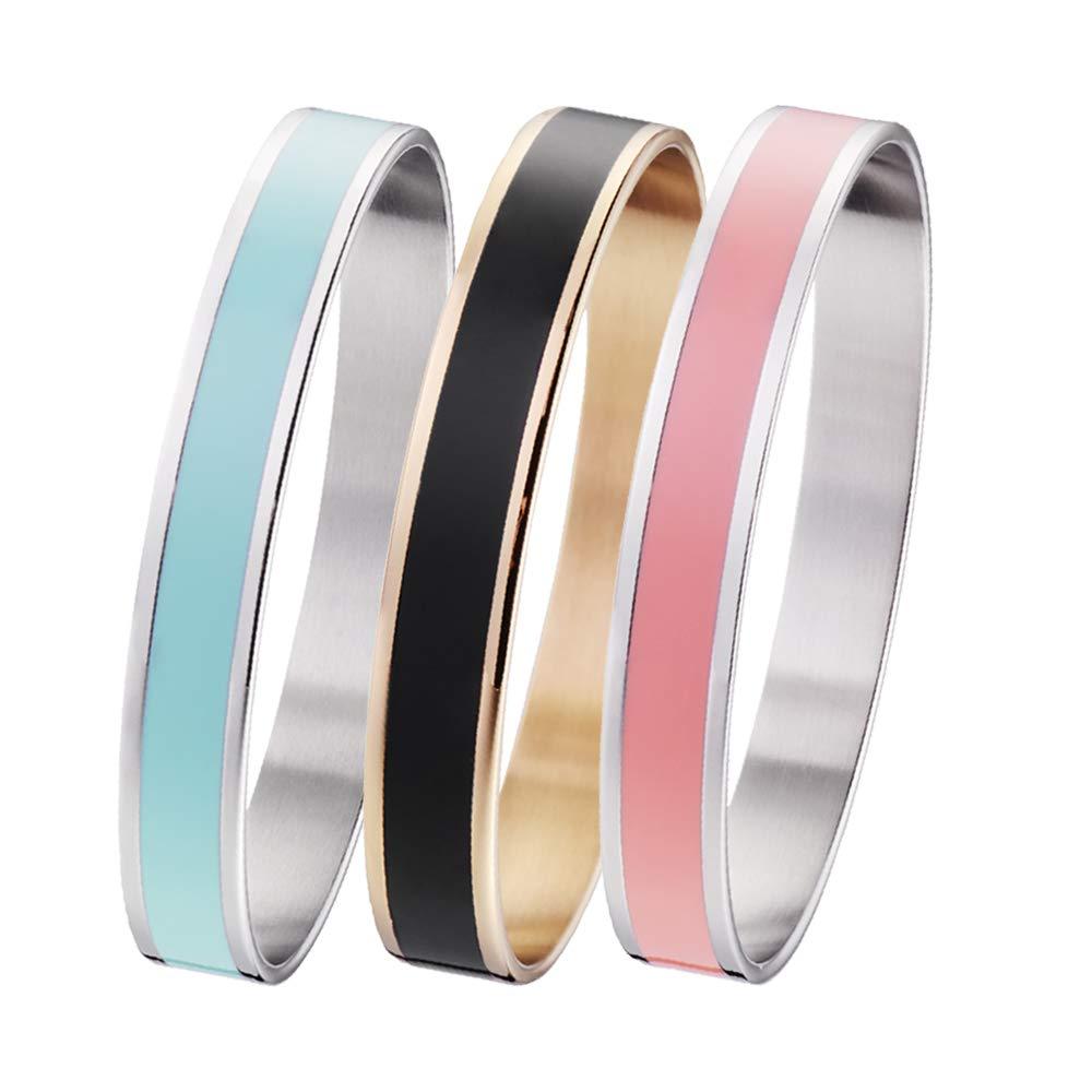 linnalove Stylish Elegance Stainless Steel Enamel Bangle Bracelet for Women and Girls