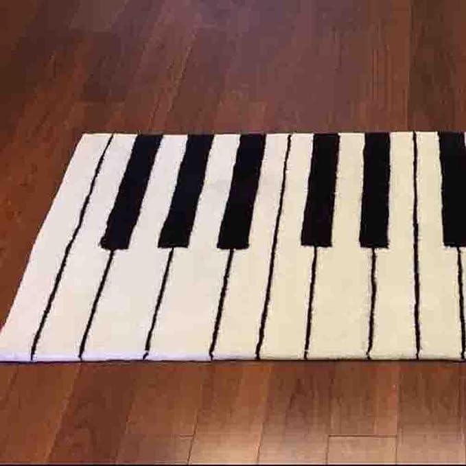 DYI Moda Blanco y Negro Teclado de Piano Espesar Alfombra Sala de ...