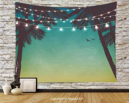 - AngelDOU Apartment Decor Camping Tent Travel Mattress Tapestry Night Time Beach Sunset with Little Lantern and Island Palm Trees Art Print Polyester Thin Tapestry.W70.8xL59(inch)