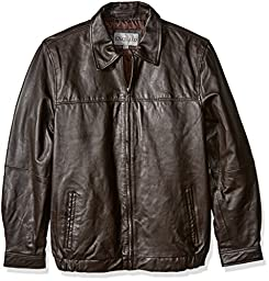 Excelled Men\'s Big and Tall Shirt Collar Leather Jacket, Brown, XLT