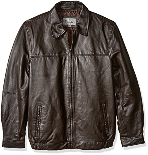 Excelled Leather Jackets (Excelled Men's Big and Tall Shirt Collar Leather Jacket, Brown, XLT)