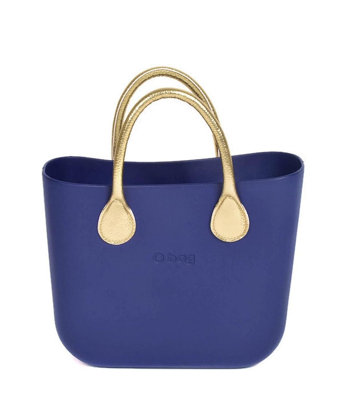 Authentic Italian O Bag Mini in Iris with Short Gold Handles
