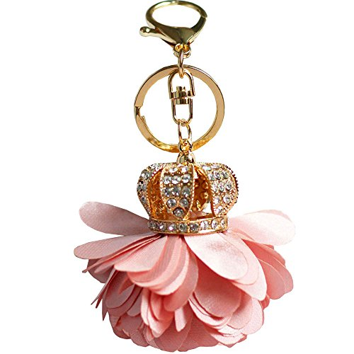 Bolbove Flower Crown Keychain Crystal Keyring Rhinestones Purse Pendant Handbag Charm (Pink)