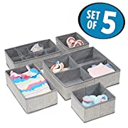 mDesign Fabric Baby Nursery Closet Organizer for Clothes, Towels, Socks, Shoes, Diapers - Set of 5, Gray