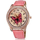 BUYEONLINE Women's Fashion Rose Gold Plated Pu Leather Straps With Rhinestones Casual Watch Pink